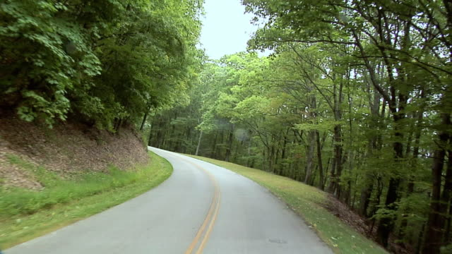 POV Driving on rural road of Blue Ridge Parkway, North Carolina, USA