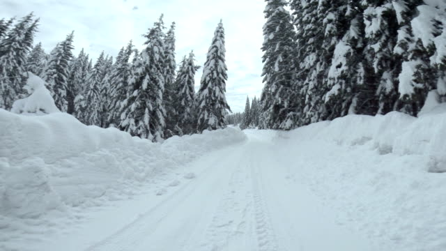 driving on snowy mountain road - dirt road stock videos and b-roll footage