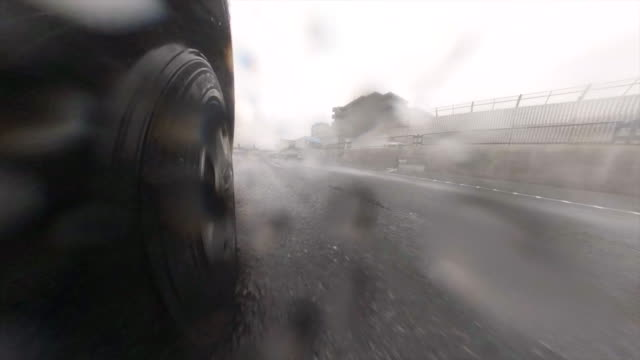 driving on stormy highway / rear view - behind stock videos & royalty-free footage
