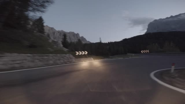 pov driving on the dolomites: mountain pass - val di fassa stock videos and b-roll footage