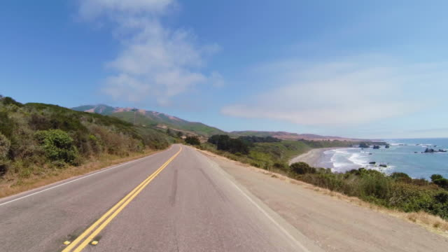Driving on the legendary Pacific Coast Highway - A flatter section
