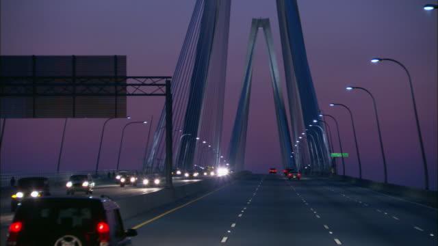 POV Driving on the New Cooper River Bridge at night / Charleston, South Carolina, United States