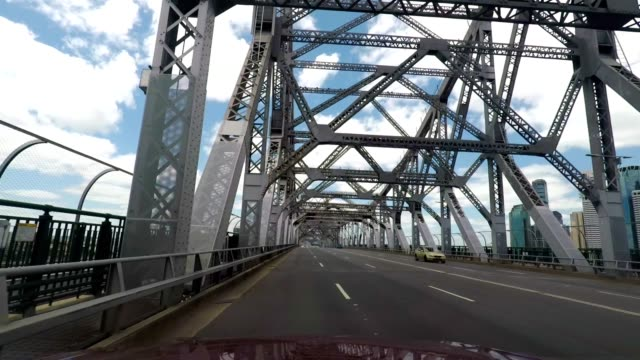 driving on the story bridge over the brisbane river, queensland, australia - cantilever stock videos & royalty-free footage