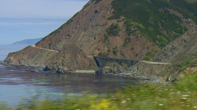 side pov driving on u.s.1 along california coast near limekiln state park, gorda, california, usa - coastal road stock videos & royalty-free footage