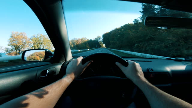 driving on vacation seem from the point of view of the driver - steering wheel stock videos & royalty-free footage