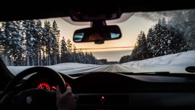 driving on winter road - point of view - road trip stock videos & royalty-free footage