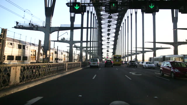 POV driving over Sydney Harbour Bridge