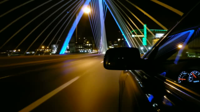 driving over the zakim bridge in boston, massachusetts - boston massachusetts stock videos & royalty-free footage