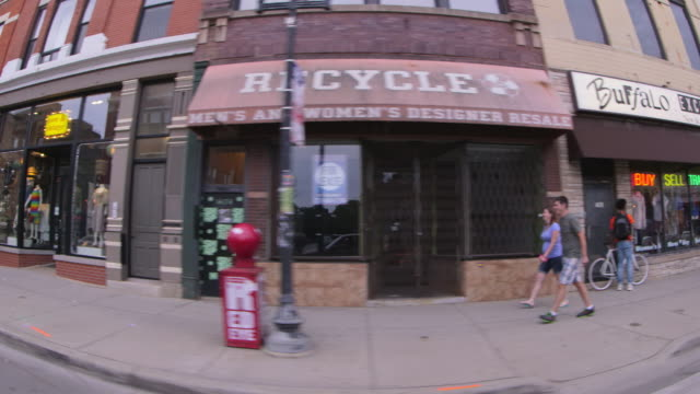 side pov driving past businesses in wicker park fisheye - western script stock videos & royalty-free footage