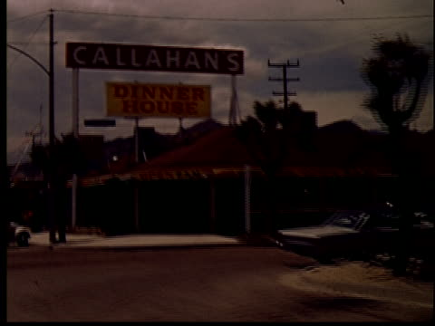 1965 WS POV Driving past Callahan's Dinner House restaurant/ Yucca Valley, California