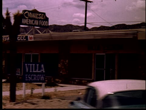 1965 MS POV Driving past Frank Gee Chinese-American Food restaurant/ Yucca Valley, California