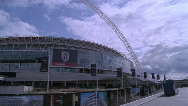 pov driving past wembley stadium / london, england, united kingdom - wembley stock videos & royalty-free footage