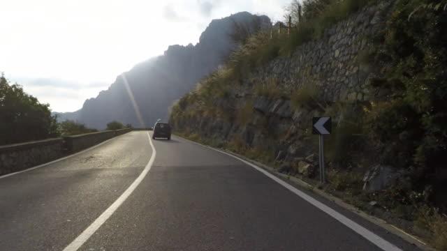 driving pov on the amalfi coast road. - coastal road stock videos & royalty-free footage