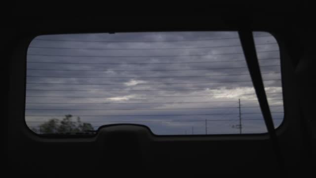Driving, rear window POV