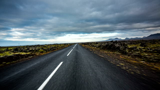 POV driving road in Iceland