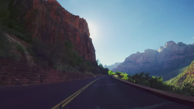 POV driving scenic byway of the Zion National park, Utah