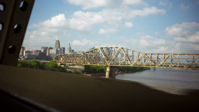 Driving shot entering Cincinnati from the Brent Spence Bridge on a summer day