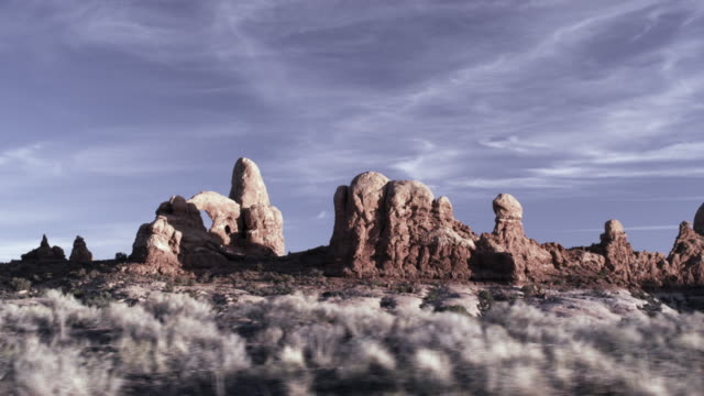 Driving shot of Arches National Park.