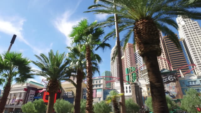 driving shot of las vegas at day time. - las vegas stock-videos und b-roll-filmmaterial