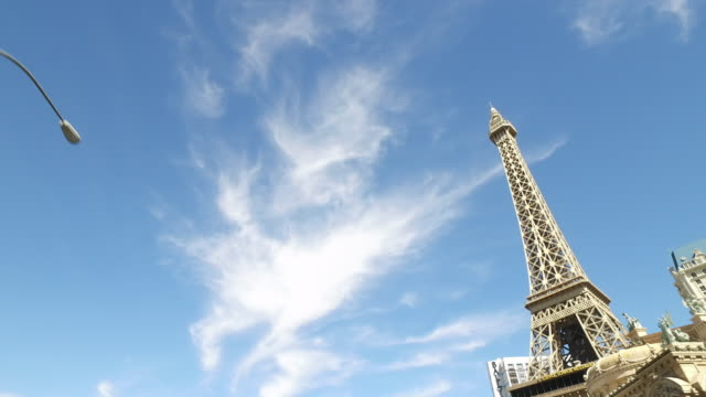 driving shot of las vegas at day time. - replica della torre eiffel video stock e b–roll