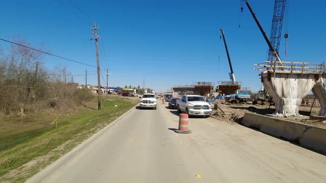 driving shot of road construction in houston, texas, 2021 - bridge built structure stock videos & royalty-free footage