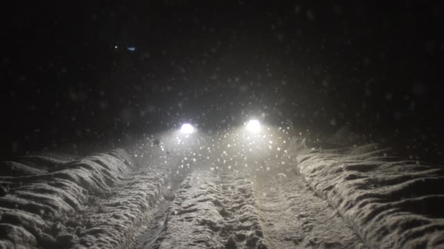 Driving snowy road at night