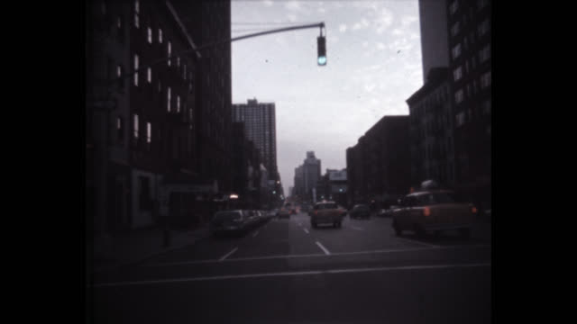 1979 pov driving south on 2nd avenue in midtown at dusk, new york city, new york state, usa - manhattan stock videos & royalty-free footage