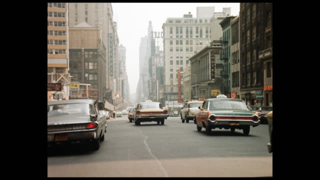 1962 driving south through times square, 1 of 5 - broadway manhattan stock-videos und b-roll-filmmaterial