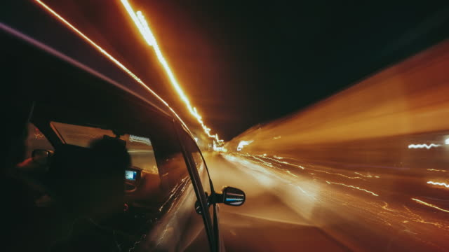 Driving the car by night - Timelapse video