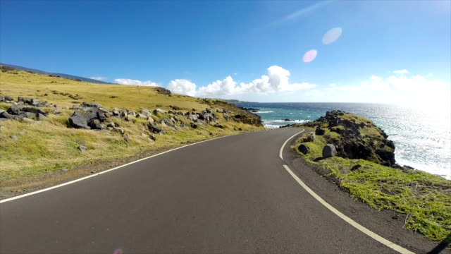 driving the roads in the islands of hawaii - point of view video stock e b–roll