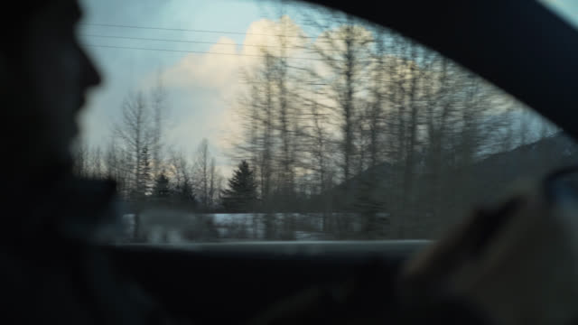 vídeos de stock, filmes e b-roll de driving through alaska - interior de carro