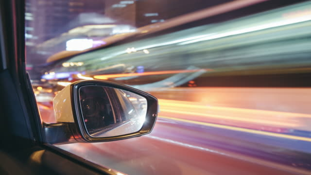 t/l ws pan pov driving through beijing urban street / beijing, china - wing mirror stock videos and b-roll footage