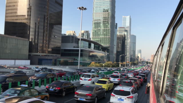 POV Driving Through Beijing Urban Street, Traffic Jam