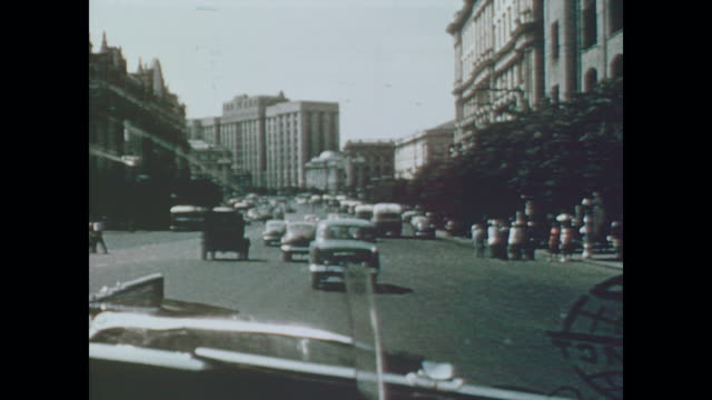 1959 driving through downtown moscow - former soviet union stock videos & royalty-free footage