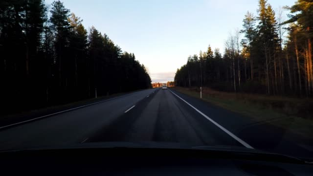 driving through forest and a green field on highway, car travel in finland - empty road stock videos & royalty-free footage