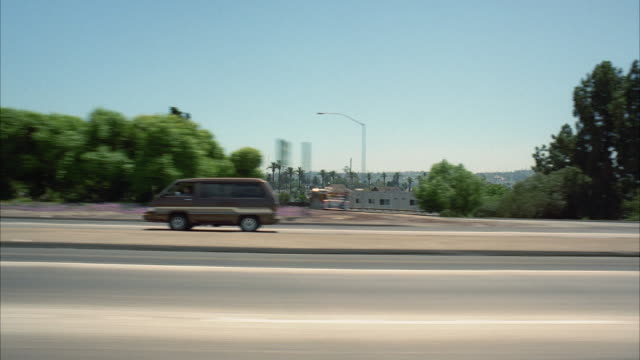 ws pov driving through freeway / los angeles, california, usa - warner bros stock videos and b-roll footage