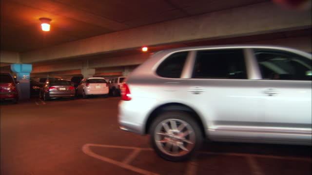 POV, Driving through garage at airport terminal, Los Angeles International Airport, Los Angeles, California, USA