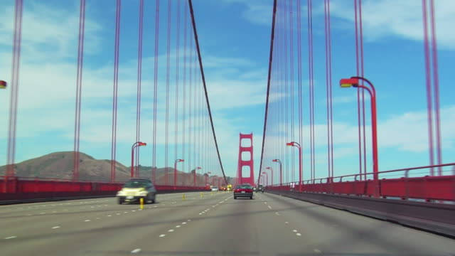 pov, driving through golden gate bridge, san francisco, california, usa, t/l  - golden gate bridge stock-videos und b-roll-filmmaterial