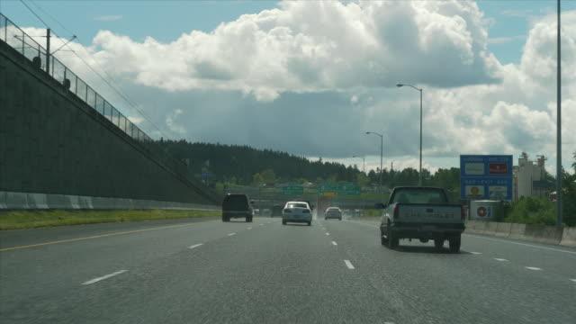 Ws Pov Tl Driving Through Highway Traffic In City Portland Oregon