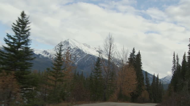 POV Driving through Jasper National Park, snow capped Canadian Rockies in background / Alberta, Canada