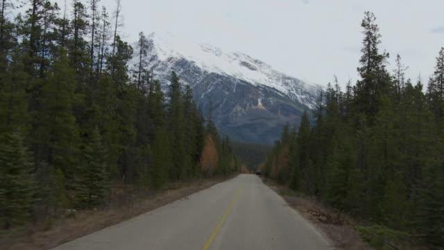 POV TU Driving through Jasper National Park, snow capped Canadian Rockies in background / Alberta, Canada