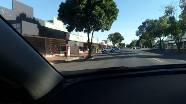 Driving through outback town
