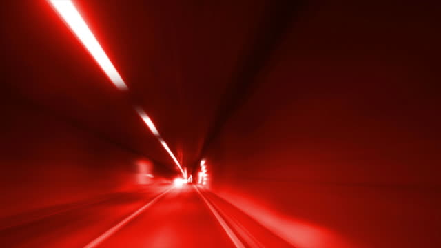 Driving Through Road Tunnel (Red Toned)