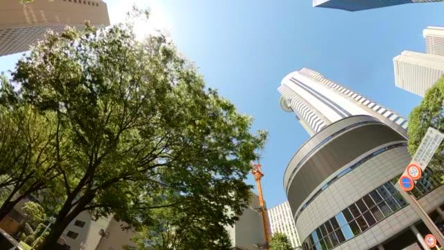 guidare attraverso i grattacieli della città. guardando in alto la vista di grattacieli e alberi verdi. - panning video stock e b–roll