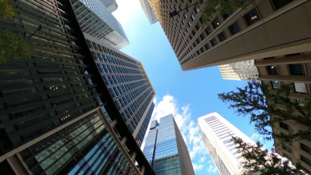 driving through skyscrapers in the city - inquadratura dal basso video stock e b–roll