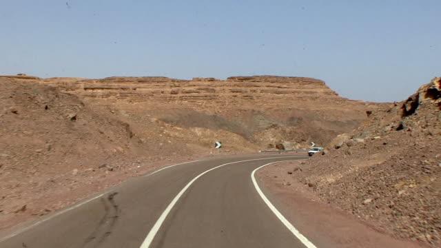 WS POV Driving through southern Sinai desert, At Tur, Egypt