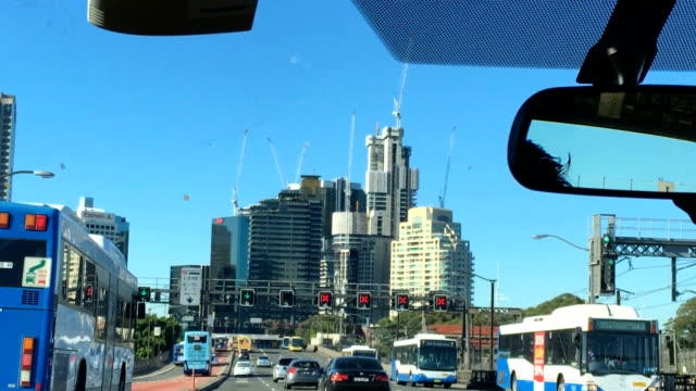 driving through sydney harbour bridge - car point of view stock videos & royalty-free footage