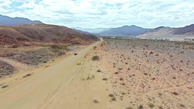 Driving through the arid desert