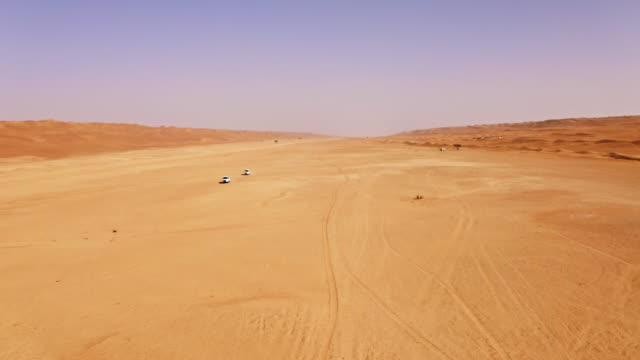 AERIAL Driving through the desert in Oman