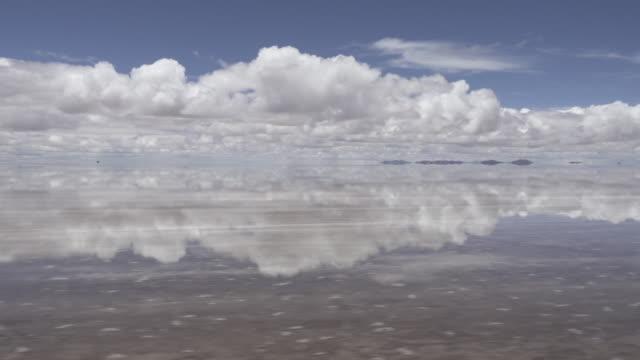 Driving through Uyuni salt flat